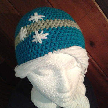 Ice Princess Elsa inspired hat - Crochet Pattern, frozen hat, Elsa hat, halloween costume, queen, wool hat, toque childs hat, braid, hair