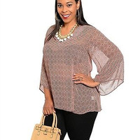 The Plus Size  Flutter Sleeve Geo Print Tunic Only 1X Left