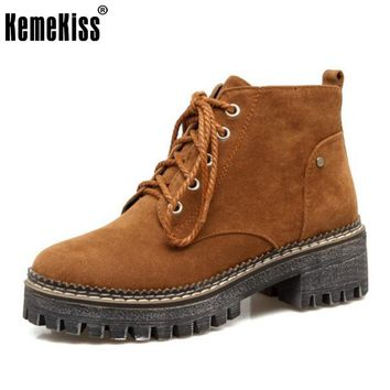 KemeKiss Size 33-43 Women Ankle Boots Zipper Side Thick Square Lace Up Platform Botas Women Shoes Thick Fur Ladies Footwear