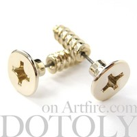 3D Fake Gauge Realistic Nuts and Bolts Screw Stud Earrings Shiny Gold