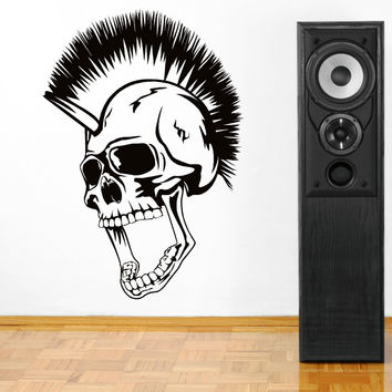Creative Art Skull Head Mohican Vinyl Wall Art Sticker High Quality Bedroom Decoration Wall Paper DIY Vinyl Curved Wall D-29