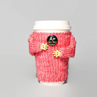 Back to school coffee cozy. Teacher gift. Travel mug cozy. Cup cover. Cup sleeve. Funny coffee. A+ Teacher. Mug sweater. Starbucks cup.