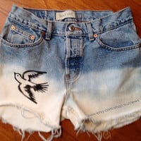 Sparrow Bird Tattoo High Waisted Dip Dyed Jean Shorts INKED Bleached Hipster ANY SIZE Avail add Studs