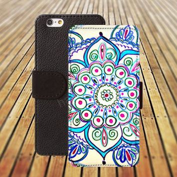 iphone 6 case blue flower mandala colorful iphone 4/4s iphone 5 5C 5S iPhone 6 Plus iphone 5C Wallet Case,iPhone 5 Case,Cover,Cases colorful pattern L530