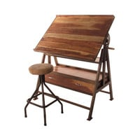 Iron & Wood Drafting Table