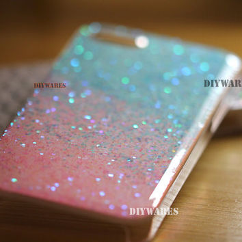 Teal Blue Pink Real Glitter Iphone 4 case iphone 4s case iphone 5 case iphone 5s case iphone 5c cover, GLittery Bling Baby Blue Light Pink