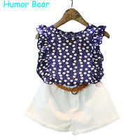 Humor Bear Girls Clothes 2016 Brand Girls Clothing Sets Kids Clothes Cartoon Children Clothing flower Tops+Shorts clothing set