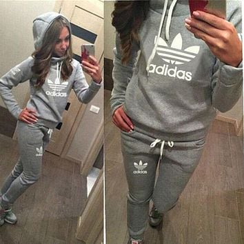 Adidas Print Hoodie Top Sweater Pants Trousers Set Two-piece Sportswear
