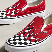 Vans Slip-On Checkerboard Flame Sneaker | Urban Outfitters
