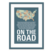 On The Road - Jack Kerouac Art Print - Library Literary Poster - Art Print for Book Lovers- Quotation Typography Poster - 12 x 18 Wall Art