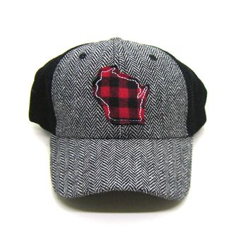 Wisconsin Trucker  Herringbone Trucker Hat - Red Buffalo Check