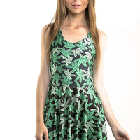 Green Weed Skater Dress