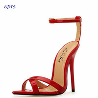 CDTS King Size:40-45 46 47 48 49 Women Crossdress Sandals Summer Gold Bottoms 13cm thin High Heels Mujer Shoes Pointed Toe pumps