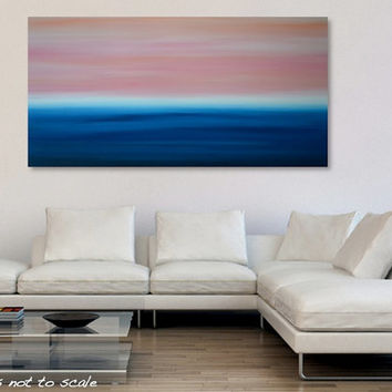 Large 48 x 24 Abstract Ocean Seascape Sunset Painting - Original Acrylic Canvas Wall Art Decor - Blue, Orange, Pink - Huge Wide Long