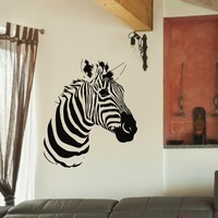 Wall Decal Vinyl Sticker Wild Animal Zebra Decor Sb452