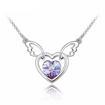 Heart and Angel Wings Crystal Women's Silver Tone Necklace