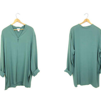 Dusty Green SILK Blouse 90s Eileen Fisher Airy Open Shirt Minimal Long Sleeve Collarless Shirt 1990s Modern Vintage Womens Large