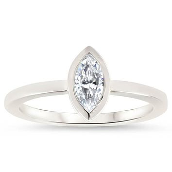 Bezel Set Marquise Cut Moissanite Engagement Ring - Navette