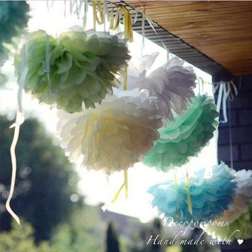 15cm=6 Inch Tissue Paper Flowers Paper Pom Poms Balls Lanterns Party Decor Craft Wedding Multi Color Option Whcn D713601