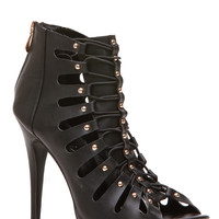Black Faux Leather Lace Up Open Toe Heels