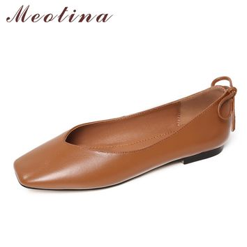 Meotina Genuine Leather Women Boat Shoes Ladies Ballet Flats Bow Slip On Women's Moccasins Flat Shoes Loafers Korean Shoes 34-40