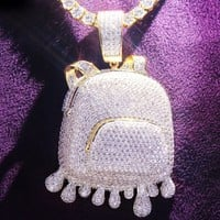 Dripping Iced Out Custom Duffle Bag Pendant Neckalace