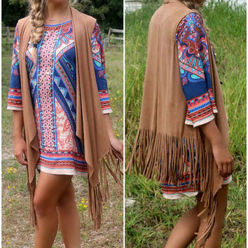 Desert Moon Tan Suede Vest With Fringe & Asymmetrical Hem