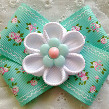 Cute Aqua Handmade Kanzashi Flower Hair Bow ~ Unique Birthday, Back to School Gift for Girls