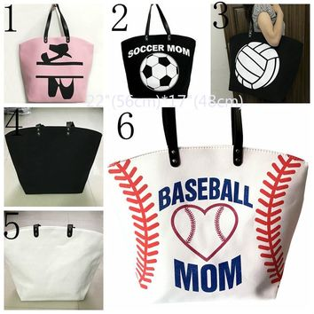 Glitter Tote with glitter Baseball Mom , Soccer Mom or Ballet
