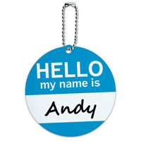 Andy Hello My Name Is Round ID Card Luggage Tag