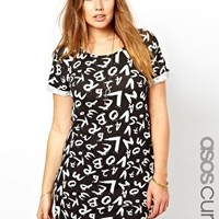 ASOS CURVE Exclusive T-Shirt Dress In Letter Print at asos.com