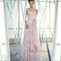 A-line Sweetheart Floor-length Lace Dress With Sash at Msdressy