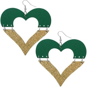 Green Wooden Linked Heart Glitter Earrings