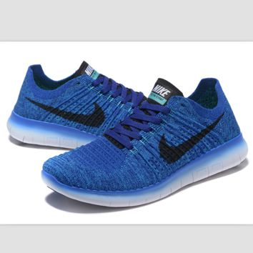 Nike free RN flynit running sneakers Sport Casual Shoes Sneakers Blue black hook