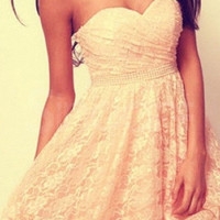 Attractive Cream A-line Sweetheart Mini Lace Prom Dress