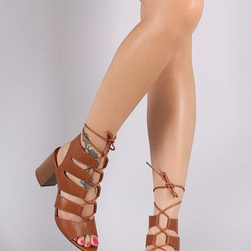 Strappy Caged Lace Up Open Toe Heel