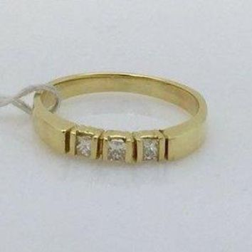 Luxinelle 3 Princess Cut Diamond Band 14K Yellow Gold Ring for Stacking or Wedding by Luxinelle® Jewelry