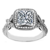 Engagement Ring - Vintage Style Princess Diamond Halo Butterfly Engagement Ring - ES1051PR