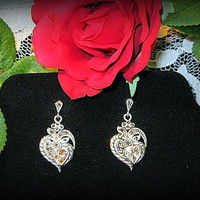 Mothers Day Earrings Sterling Silver, Vintage Marcasite,Cubic Zirconia Heart