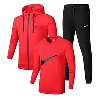 Nike Fashion Casual Cardigan Jacket Coat Top Sweater Pants Trousers Set Three-Piece