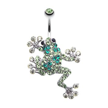 Sparkle Leaping Frog Belly Button Ring Navel Ring Body Jewelry
