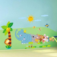 MDIGYN5 wall stickers for kids rooms Cartoon Animal Elephant Tree Wall Stickers  for kids rooms home decor pegatinas de pared