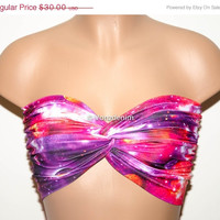 Galaxy Printed Twisted Bandeau, Galaxy Universe Swimwear Bikini Top, Spandex Bandeau Bikini in Pink, Orange, Purple & White