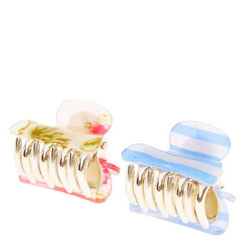 Floral and Striped Mini Hair Claws