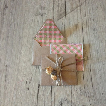 Beautiful set of 5 crafted small envelopes with cards - letter writing paper - light pink grey rustic - brown envelopes - europeanstreetteam