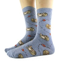 Adorable Sleeping Kitty Cat and Mice Novelty Print Socks for Women in Blue