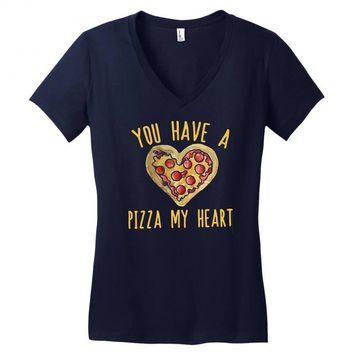 you have a pizza my heart Women's V-Neck T-Shirt