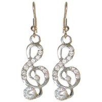 1/2 X 1 1/2 Treble Clef Music Earrings with Rhinestones, in Crystal with Silver Finish:Amazon:Jewelry