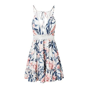 Just Forget Me White Blue Pink Floral Pattern Crochet Sleeveless Spaghetti Strap V Neck Lace Trim Backless Flare Casual Mini Dress