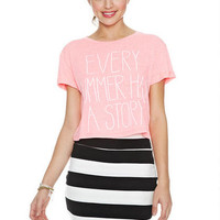 Striped Bodycon Skirt - Black Multi